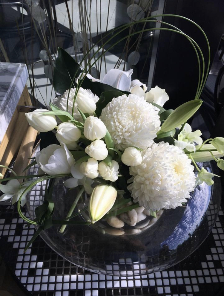 White Rose Table Bouquet
